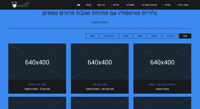 אובייקט הפרוייקטים - עברית