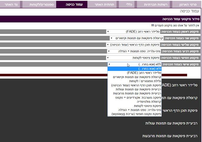 שליטה מדהימה על מראה עמוד הכניסה ממינהלת האתר